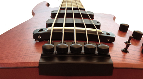 Admiring the full radiused design of the NS Design Radius CR5 bass.