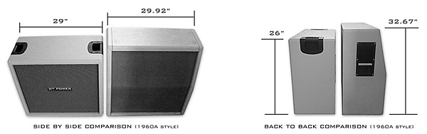 Comparison of the size difference between 3rd Power SB312 and Marshall 1960-style cabinet.