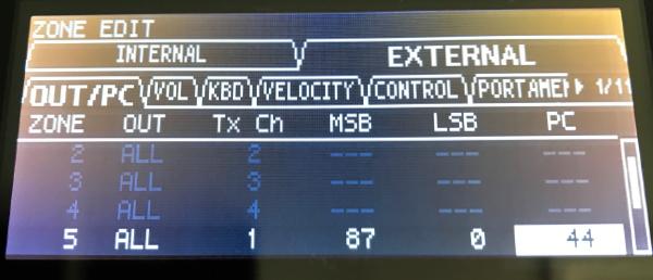 Roland RD-200 MSB/LSB Values